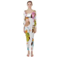 Cute Owls Pattern Long Sleeve Catsuit