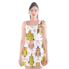 Cute Owls Pattern Scoop Neck Skater Dress