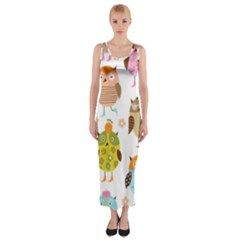 Cute Owls Pattern Fitted Maxi Dress