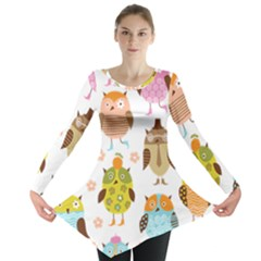 Cute Owls Pattern Long Sleeve Tunic