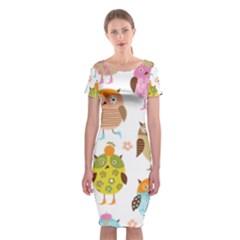 Cute Owls Pattern Classic Short Sleeve Midi Dress