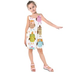 Cute Owls Pattern Kids  Sleeveless Dress