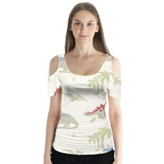 Dinosaur Art Pattern Butterfly Sleeve Cutout Tee