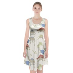Dinosaur Art Pattern Racerback Midi Dress