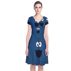 Funny Face Short Sleeve Front Wrap Dress