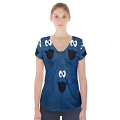 Funny Face Short Sleeve Front Detail Top