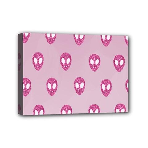 Alien Pattern Pink Mini Canvas 7  X 5