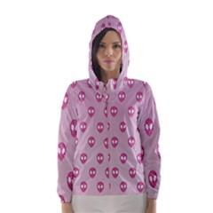 Alien Pattern Pink Hooded Wind Breaker (women)