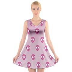 Alien Pattern Pink V Neck Sleeveless Skater Dress