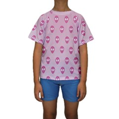Alien Pattern Pink Kids  Short Sleeve Swimwear