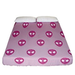 Alien Pattern Pink Fitted Sheet (california King Size)