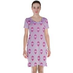 Alien Pattern Pink Short Sleeve Nightdress