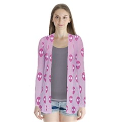 Alien Pattern Pink Drape Collar Cardigan