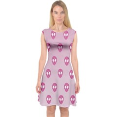 Alien Pattern Pink Capsleeve Midi Dress
