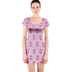 Alien Pattern Pink Short Sleeve Bodycon Dress