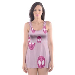 Alien Pattern Pink Skater Dress Swimsuit