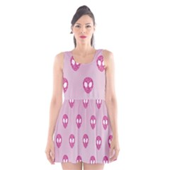 Alien Pattern Pink Scoop Neck Skater Dress