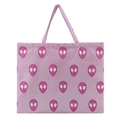 Alien Pattern Pink Zipper Large Tote Bag