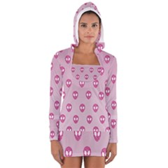 Alien Pattern Pink Long Sleeve Hooded T Shirt