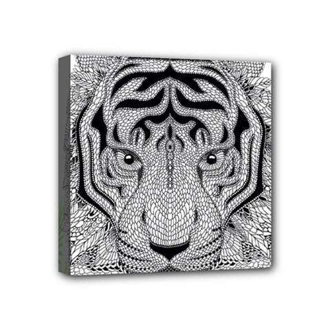 Tiger Head Mini Canvas 4  X 4