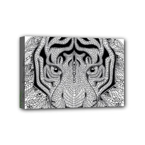 Tiger Head Mini Canvas 6  X 4