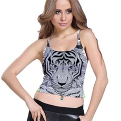 Tiger Head Spaghetti Strap Bra Top