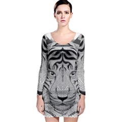 Tiger Head Long Sleeve Bodycon Dress