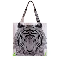 Tiger Head Zipper Grocery Tote Bag