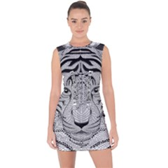 Tiger Head Lace Up Front Bodycon Dress