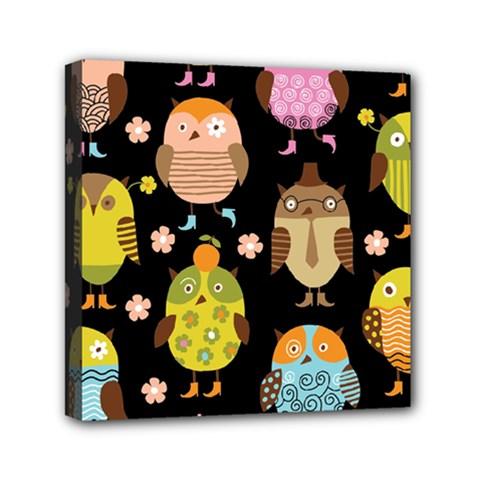 Cute Owls Pattern Mini Canvas 6  X 6