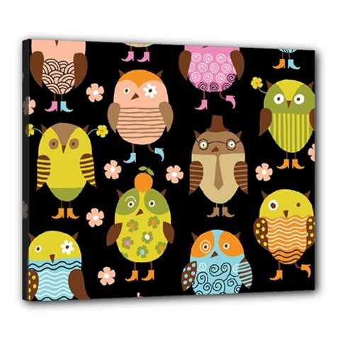 Cute Owls Pattern Canvas 24  X 20