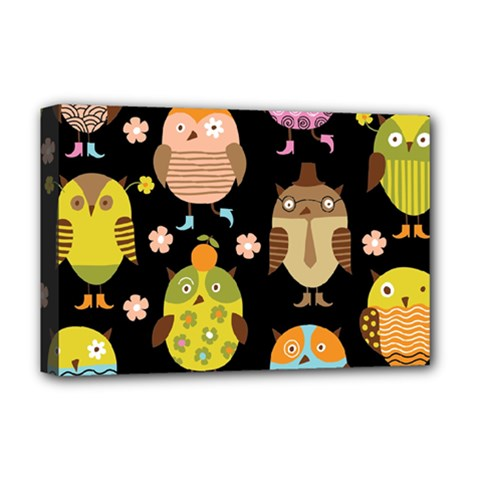 Cute Owls Pattern Deluxe Canvas 18  X 12
