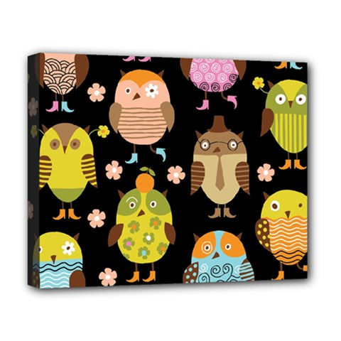 Cute Owls Pattern Deluxe Canvas 20  X 16