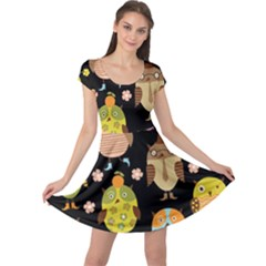 Cute Owls Pattern Cap Sleeve Dresses
