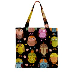 Cute Owls Pattern Zipper Grocery Tote Bag