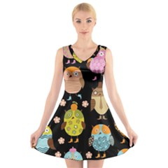 Cute Owls Pattern V Neck Sleeveless Skater Dress