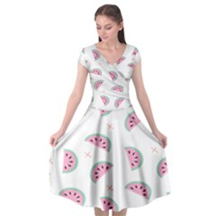 Watermelon Wallpapers  Creative Illustration And Patterns Cap Sleeve Wrap Front Dress