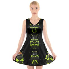 Beetles Insects Bugs V Neck Sleeveless Skater Dress