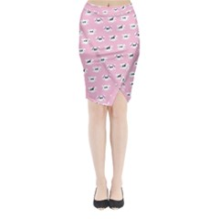 Girly Girlie Punk Skull Midi Wrap Pencil Skirt