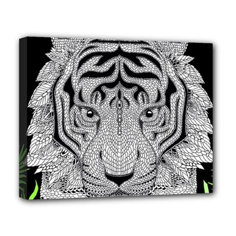 Tiger Head Deluxe Canvas 20  X 16