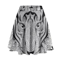 Tiger Head High Waist Skirt