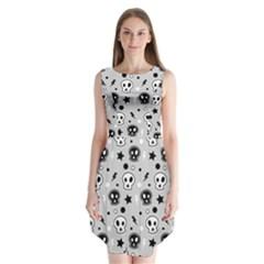 Skull Pattern Sleeveless Chiffon Dress