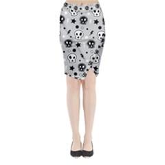 Skull Pattern Midi Wrap Pencil Skirt