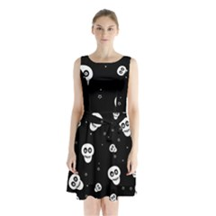 Skull Pattern Sleeveless Waist Tie Chiffon Dress