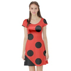 Abstract Bug Cubism Flat Insect Short Sleeve Skater Dress