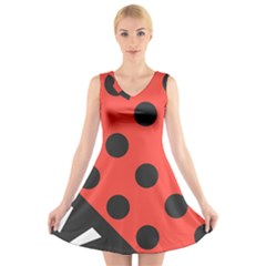 Abstract Bug Cubism Flat Insect V Neck Sleeveless Skater Dress