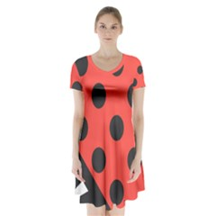 Abstract Bug Cubism Flat Insect Short Sleeve V Neck Flare Dress