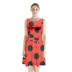 Abstract Bug Cubism Flat Insect Sleeveless Waist Tie Chiffon Dress
