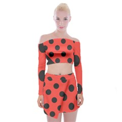 Abstract Bug Cubism Flat Insect Off Shoulder Top With Skirt Set