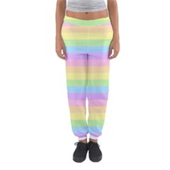 Cute Pastel Rainbow Stripes Women s Jogger Sweatpants